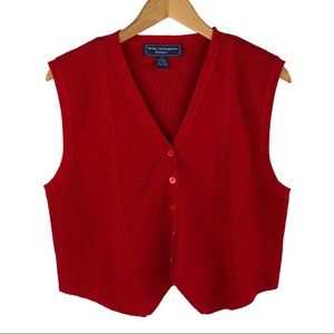 NORTON McNAUGHTON | Red Sleeveless Sweater Vest